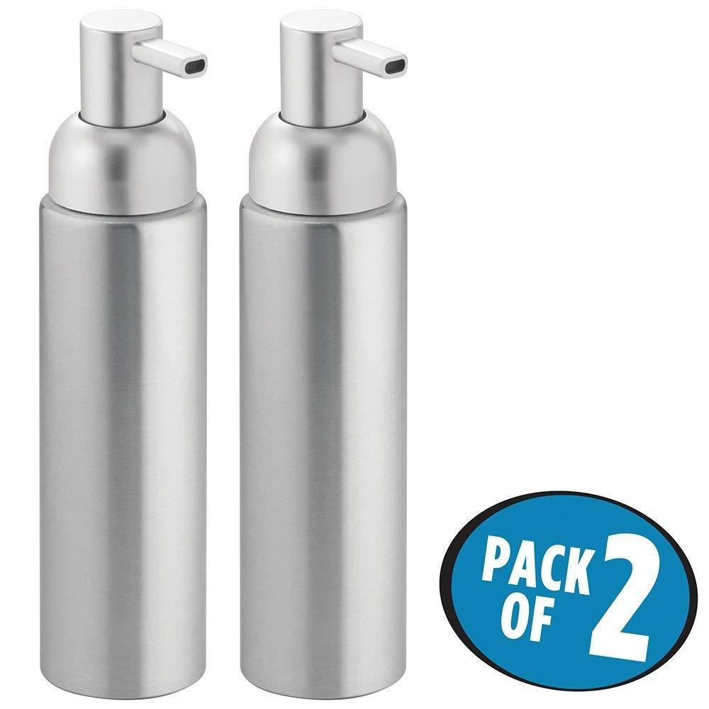 mDesign Dispenser Sapone e Portasapone Liquido - Dosatore in alluminio di 251 ml di volume - Ideale e ricaricabile - Argento MetroDecor