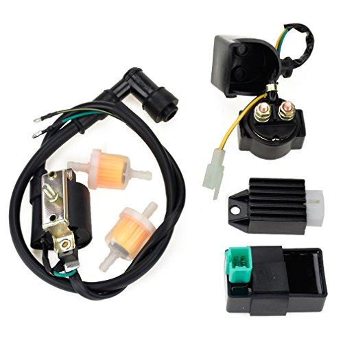 HIAORS Ignition Coil 5 Pin CDI Regulator Rectifier Relay Fuel Filter For Kazuma Meerkat 50cc Falcon 90cc 110cc Taotao Roketa Coolster 110CC ATV 3050B X15 X 18 R Nitro X19 - Bike Pocket X15