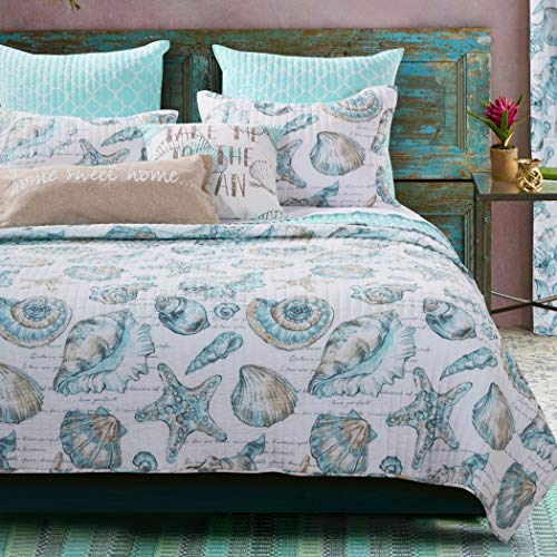 3 Piece White Teal Beach Theme Quilt Full Queen SetWhite Coastal Bedding