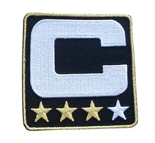Black Captain C Patch (3 Gold Stars) Iron On for Jersey Football, Baseball. Soccer, Hockey, Lacrosse, (Nhl Jersey Numbers)