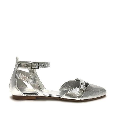 Ballerine a punta aperte con cinturino argento scarpe donna vera pelle made in i
