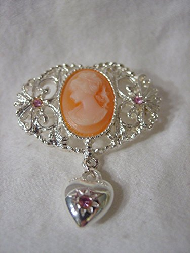 White Face CAMEO Orange OVAL Dangle HEART PIN BROOCH SCARF CLIPS CORSAGE JEWELRY FOR WOMAN Silver Metal