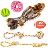 JuJu pets Dog Toys 6 Pack Set - Toys for Dog - Rubber Ball – Nontoxic Latex Rugby Toy – Durable & Natural Cotton Tug Rope – Plush Squeaky Donut – Plush Marmot Squeak Puppy Chew Toys - Dogs Toys