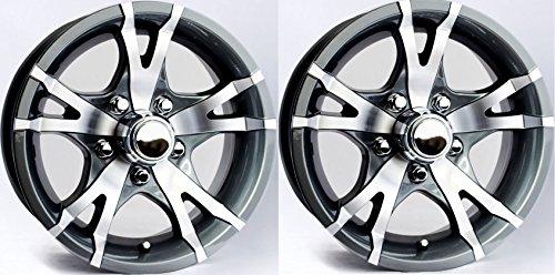"eCustomRim TWO (2) Aluminum Trailer Rims Wheels 5 Lug 14"" Avalanche V-Spoke Gray"