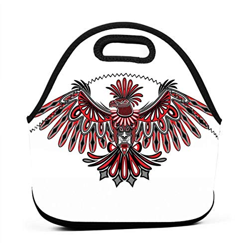 Portable Lunch Bag Carry Case Tote Container Bags,Haida Art Eagle Motif Native American Tribal Pattern Totem Illustration,Unisex Outdoor Travel Fashionable Handbag Pouch for - Native Haida Art