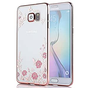 Galaxy S7 Carcasa, tebeyy Ultra Thin Perfect Fit Funda Blanda de goma con lámina de oro transparente para Samsung Galaxy S7, plástico, Rose Frame and Pink Flower, Samsung Galaxy S7 Edge