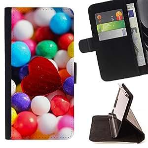 BullDog Case - FOR/Samsung Galaxy S6 EDGE / - / Candy Heart /- Monedero de cuero de la PU Llevar cubierta de la caja con el ID Credit Card Slots Flip funda de cuer