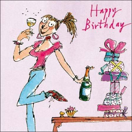 Woodmansterne Birthday Card Quentin Blake Lady Celebrating – Lady Birthday Cards