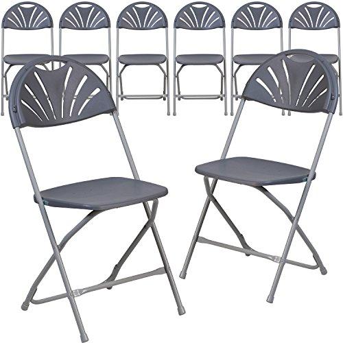 Flash Furniture 8 Pk. HERCULES Series 800 lb. Capacity Charcoal Plastic Fan Back Folding Chair