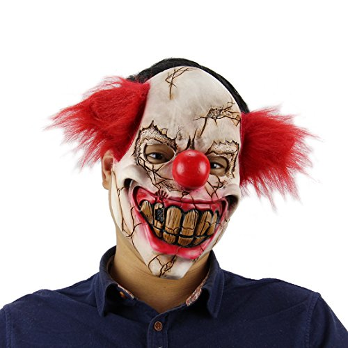 Yi Dai Si Horrific Demon Scary Red Haired Clown Masks Props Devil Zombie Mask Evil Halloween Horror Latex Mask