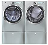 "Electrolux Wave-Touch Silver Sands Front Load Laundry Pair with EWFLS70JSS 27"" Washer, EWMGD70JSS 27"" Gas Dryer and 2 EWFLS70JSS Pedestals"