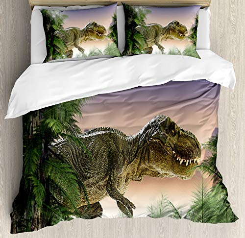 Ambesonne Jurassic Decor Duvet Cover Set Queen Size, Dinosaur in The Jungle with Trees Forest Nature Woods Scary Predator Violence, A Decorative 3 Piece Bedding Set with 2 Pillow Shams, Green Purple ()