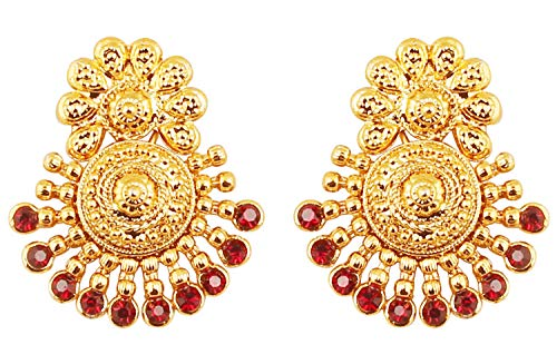 (Touchstone Indian Bollywood Ancient Southern Gold Bahubali Inspired Bridal Traditional Jewelry Earrings Embellished With Faux Ruby For Women In Antique Gold Tone.)