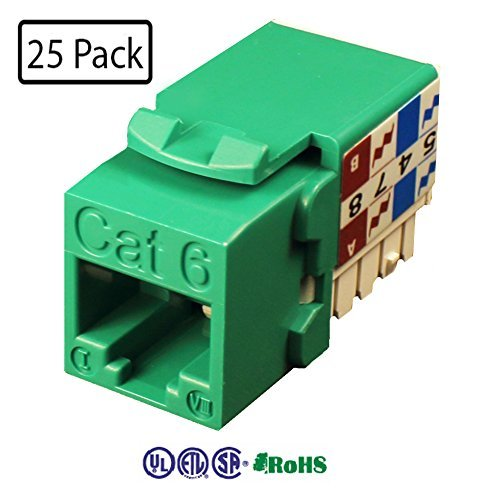 Infinity Cable CAT6 RJ45 Keystone Jack 90 Degree, Green (25 Pack) (568b Channel Green)