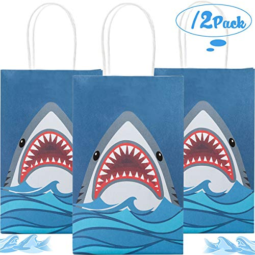Funnlot Shark Party Bags Shark Party Supplies 12PCS Shark Goodie Bags Shark Gift Bags Shark Party Favor Bags for Shark Party Kids Birthday Party Decorations ()