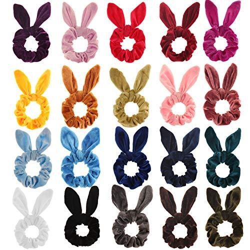 SUBANG 20 Pack Hair Scrunchies Rabbit Ear Scrunchies Velvet Scrunchy for Hair Scrunchies Hair Elastics Scrunchies Hair Bands Ties for Women Girls, 20 Colors