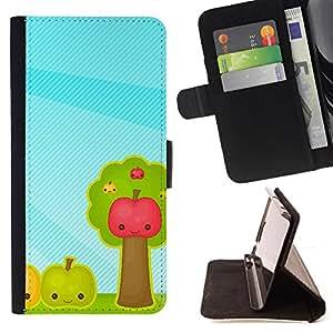 - Fruit Apples - - Monedero PU titular de la tarjeta de cr????dito de cuero cubierta de la caja de la bolsa FOR Samsung Galaxy Note 3 III RetroCandy
