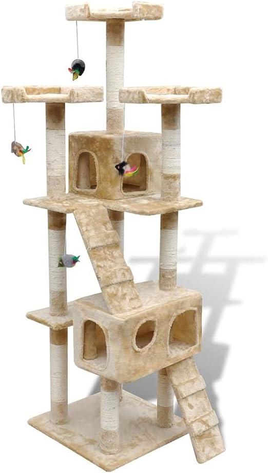vidaXL Rascador para Gatos Poste de Rascado 170 cm 2 Condominios Beige: Amazon.es: Hogar