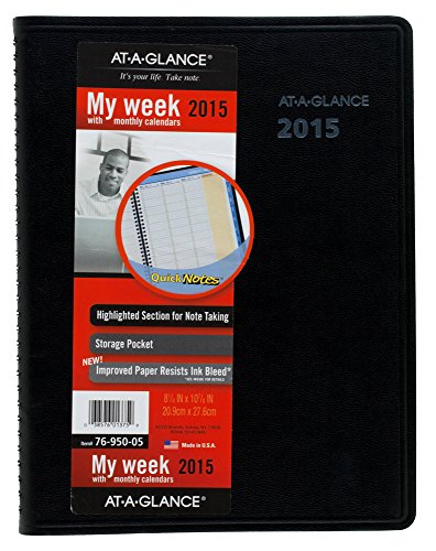 AT-A-GLANCE Weekly and Monthly Planner 2015, Includes QuickNotes, Wirebound, 8.25 x 10.88 Inch Page Size, Black (76-950-05)