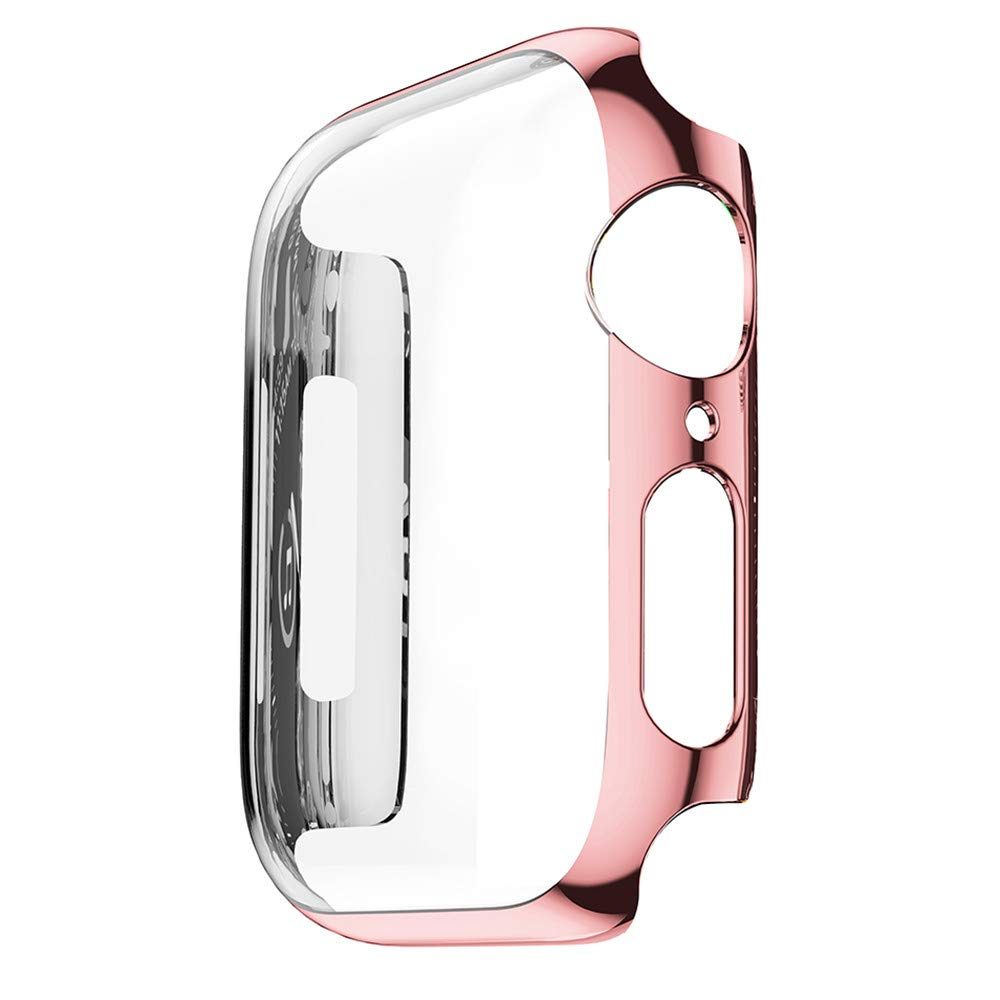 yuemizi Ultra Thin PC Plating Cases Protective Bumper Case Cover For Apple Watch 4 40mm 44mm (40mm, Rose Gold)