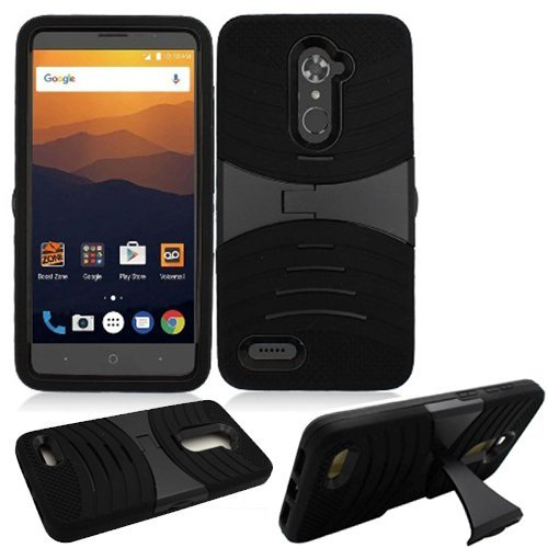 Phone Case for Straight Talk ZTE Max-Blue / ZTE Blade-Max-3 / ZTE Max-XL Boost ZTE Bolton 4g LTE N9560 Rugged Heavy Duty Armor Cover (Armor Black Skin-Black Stand)