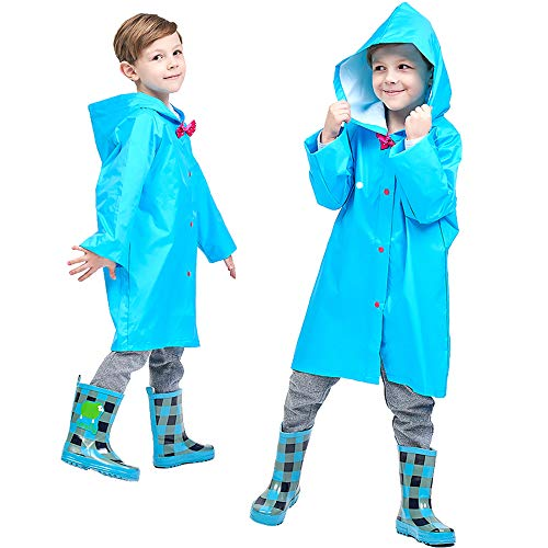 Trench Mini - Blue 2-10t Kids Rain Jacket Solid Rain Coats for Girls Boy Rain Coat Rain Trench Coat Packable Rain Jacket Boys Lightweight Kid Rain Coats with Hood Long Sleeve Rainwear for Kids Waterproof S