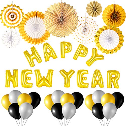 TUPARKA 2019 Happy New Year Decoration Kit Includes Gold Tissue Paper Fan and Happy New Year Balloons Set for New Years Eve Party Supplies New Year Backdrop Decorations