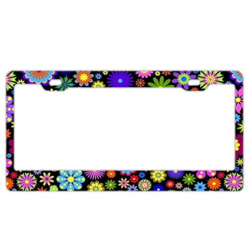 - FunnyLpopoiamef License Plate Frame For Women Retro Colored Flowers Black Background Car Tag Frame Plastic License Plate Cover With Two Holes