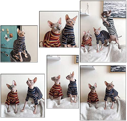 Bonaweite Hairless Cats Stripe T-Shirt, Breathable Cat Wear Clothes Vest Shirts for Sphynx, Cornish Rex, Devon Rex, Peterbald 23