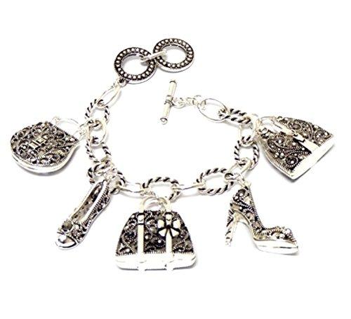 Marcasite Toggle Clasp - Shoe Handbag Charm Bracelet Z10 Crystal Silver Tone Purse Heel Flat Marcasite