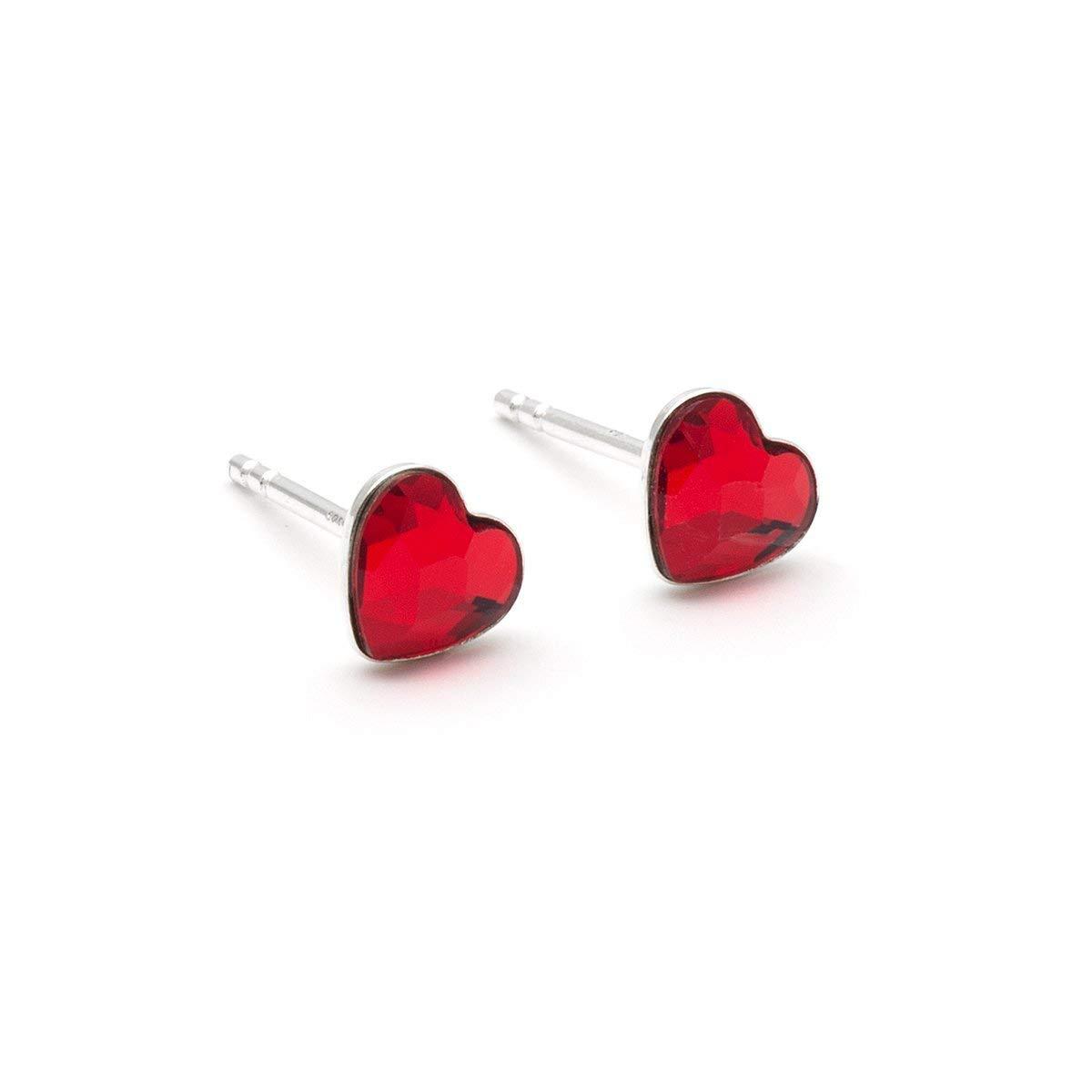 Tiny red Swarovski Heart dainty stud crystal 6mm sterling silver 925 post earrings