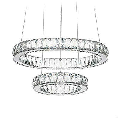 "DEARLAN Modern Crystal Chandeliers LED Chandelier Lighting Ceiling Light Fixture Pendant Lamp Entry Bed Room 2 Rings D19.7""+11.8"" - 85-265 Voltage, 29-watt Maximum Power, Lightsource: 2835 LED. Dimmable: No Product Dimensions : 19.7 x 11.8 inches, Height: adjust the stainless steel cable to the desired length from 11.8"" to 47.2"" Material: Stainless steel, K9 Crystal. Color temperature in Kelvin: 6000K-6500K / Cool white. - kitchen-dining-room-decor, kitchen-dining-room, chandeliers-lighting - 51TBsSQDUpL. SS400  -"