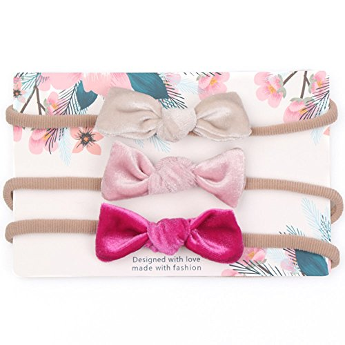 Baby Girls Headband with Bows Hairband Newborn Hair Accessories, Set of 3 (Style (Pink Velvet Bow)
