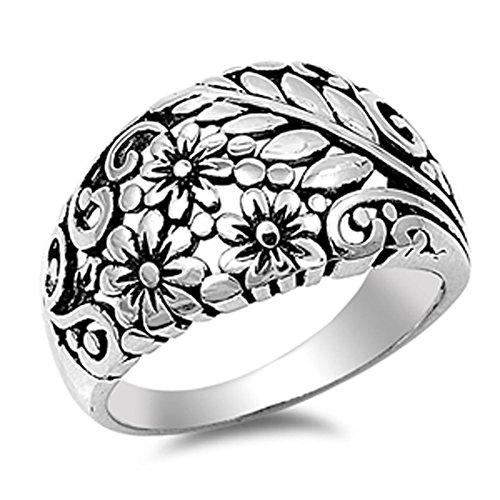 Oxidized Karen's Flower Leaf Filigree Ring .925 Sterling Silver Band Size 12 (Silver Flower Ring Filigree Sterling)