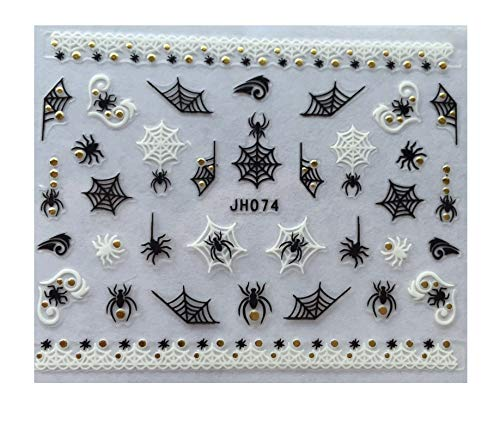 CLOSEOUT SPECIAL HALLOWEEN SPIDER WEB NAIL ART 3D DECAL STICKERS - 2 PCS