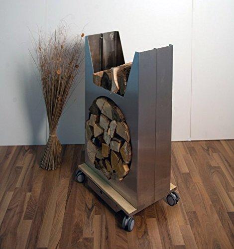 Holzaufbewahrung fahrbar Höhe 90 Breite 60cm, in Edelstahl mit ...