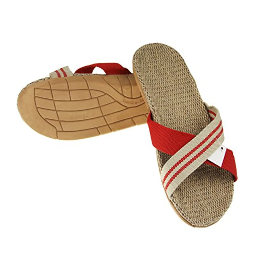 Mules Bath Unisex Footwear Toe Cozy Slippers Home Slippers Shoes Fashion Flip Linen Lightweight Mens Slip Womens Flat Crossed Scuff Open Sandals Indoor Slide Flax House Flops Spa Antiskid Summer Red Band on Bedroom 0OqBdwC