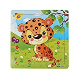 Sandistore Wooden Jigsaw Toys For Kids Education And Learning Puzzles Toys(Leopard)