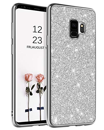 BENTOBEN Phone Case for Samsung Galaxy S9 Slim Thin Luxury Glitter Sparkle Bling Pretty Protective Drop Proof Phone Cases Shiny Girly Phone Cover with Lanyard for Girls Women - Silver