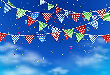 Baocicco 9x6ft Congratulations Backdrop Colorful Flags Banner Confetti Blue Sky Photography Background Theme Birthday Party Wedding Baby Shower