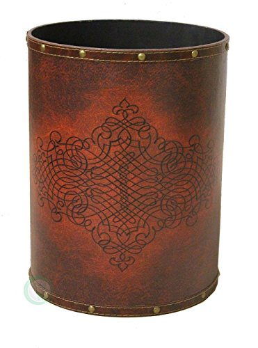 Leather Waste Bin (Vintiquewise(TM) Faux Leather Antique Design Waste Bin)