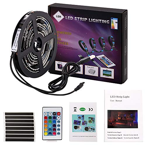 LED Light Strip 2 Meters USB LED Lights 5050 SMD RGB LED Strip Light,LED TV Backlight Bias Lighting with Remote Controller for 40 To 60 Inch HDTV,PC Monitor ()