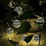 12 Moroccan Globe Solar String Lanterns LED Fairy Lights Garden Outdoor Party Wedding Celebration Beautiful Night Light Decorative Garden Patio Lamp Sun Powered E