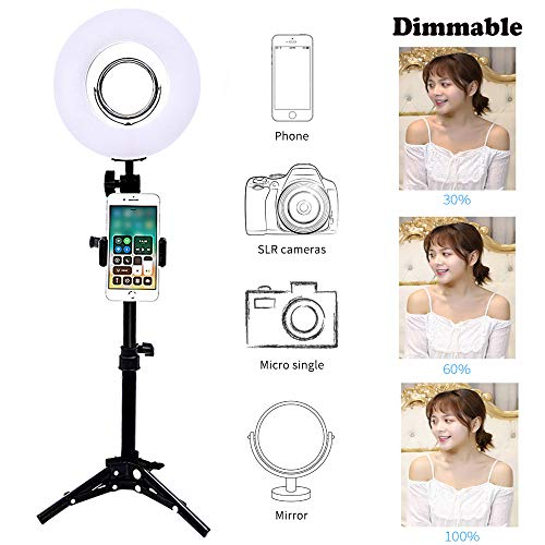 Trumagine Dimmable LED Ring Light with Light Stand,Makeup Mirror and Phone Holder, Perfect Camera Photo Video Lighting Kit,8