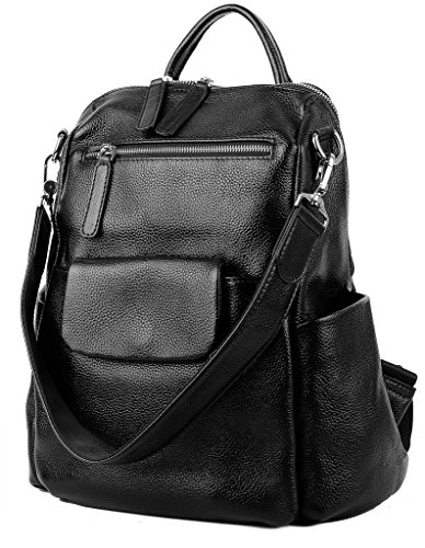 Large Silver Hardware - YALUXE Women's Convertible Leather Shoulder Bag Versatile Backpack with Removable Small Crossbody Bag Black