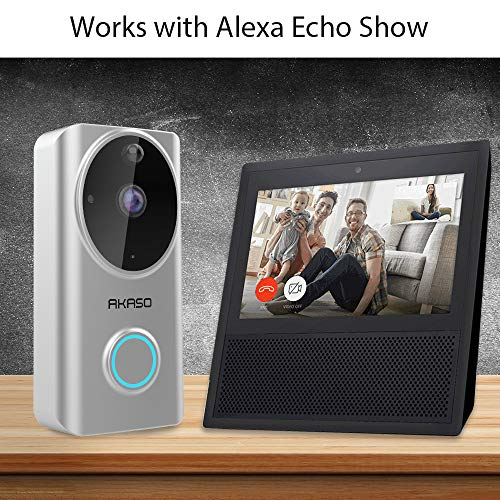 Video Doorbell Wireless WiFi,AKASO Smart Doorbell Camera with Motion Detector,720p Security Camera w/166° Viewing Angle Works with Alexa,Two-Way Audio & Cloud Storage,Night Vision for iOS Android by AKASO (Image #2)