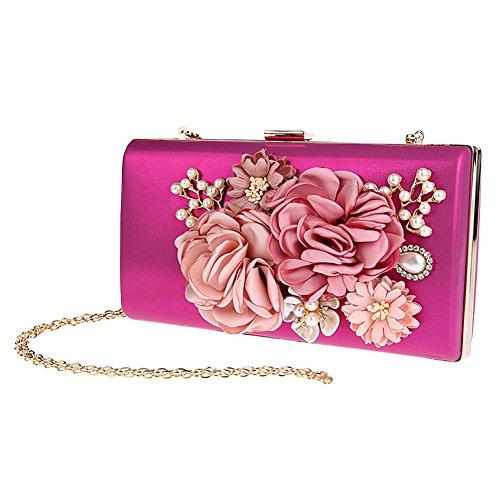 Genda 2Archer Mujeres de Satén de Flores Noche de Embrague de Perlas de Cuentas de Bolso de la Tarde Rosa Roja
