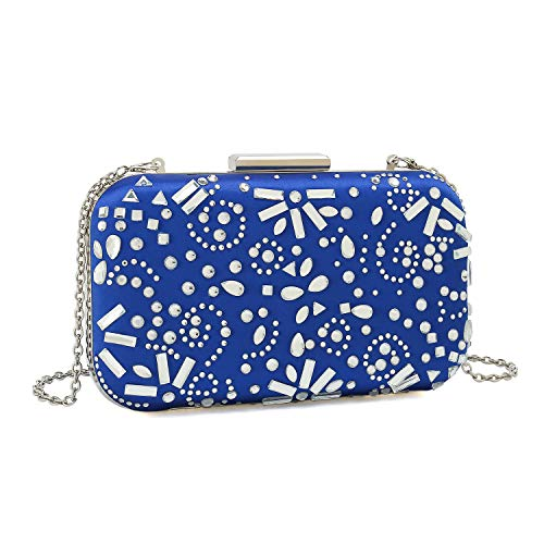 Satin Frame Clutch Handbag - Charming Tailor Satin Box Clutch Purse for Women Evening Rhinestone Handbag Bridal Party Clutch Crystal Purse Cross Body Bag (Royal Blue)