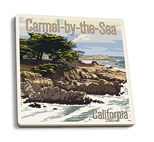Lantern Press Carmel-by-The-Sea, California - View of Cypress Trees (Set of 4 Ceramic Coasters - Cork-Backed, Absorbent)
