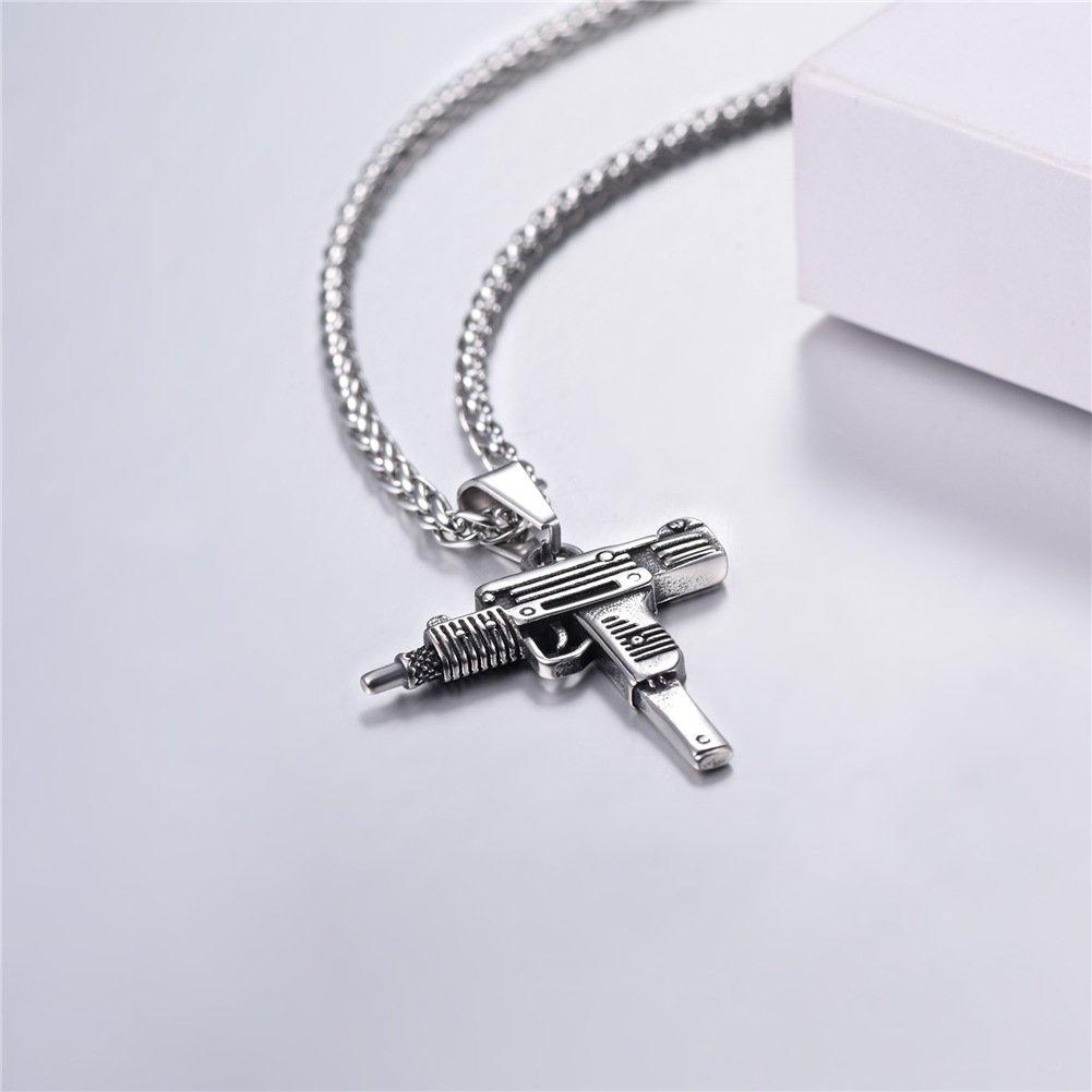 Men Jewelry AK-47//M16//UZI Gun Pendant Necklace with Stainless Steel//18K Gold Plated Wheat Chain U7 Jewelry U7 GP2467H